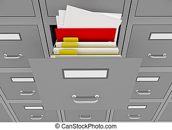 File cabinet with an open drawer - 3d illustration of...