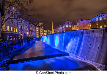 Blue Christmas - the illuminated waterfall in the famous...