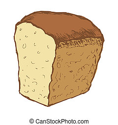 loaf of bread - hand drawn, cartoon, sketch illustration of...