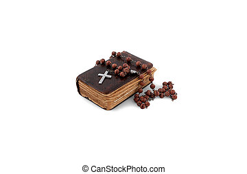 bible with a rosary - an age-old bible is a rosary and cross...
