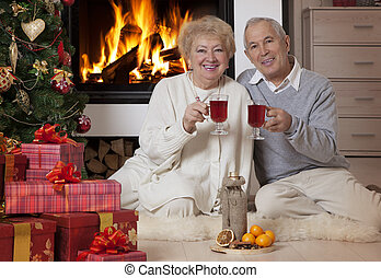 Mature couple celebrating Christmas - Cheerful mature couple...
