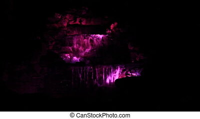 Night waterfall color lights