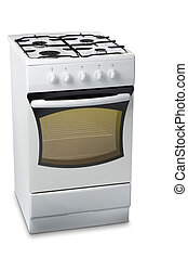 Gas Stove with Light in Oven - White stove with light in...