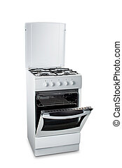 Gas Stove with Open Oven - White stove with the open oven, ,...