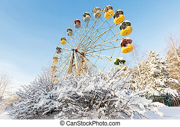 Winter panorama of abandoned Ferris wheel, Pervouralsk,...