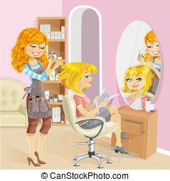 Service girl in beauty salon