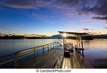Jetty at sunrise in Sabah, Borneo, Malaysia