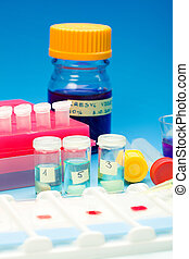 Array of blood samples for microscopy and biopsy tissue on...