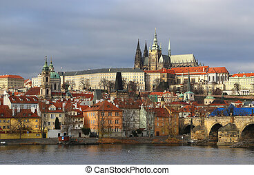 Old Prague, Czech Republic - The view on the winter old...