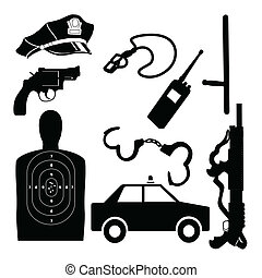 Police equipment set vector - Silhouette of police equipment...