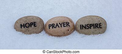 prayer, inspire, hope rocks in snow