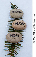 prayer, hope, inspire rocks - spiritual rocks that have...