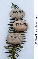 prayer, hope, inspire rocks - spiritual rocks that have...