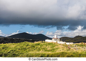 Cromwell Lighthouse on Valentia Iceland, County Kerry,...