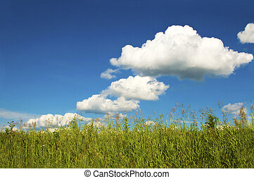 Summer weather with clouds. - A Sunny summer weather with...