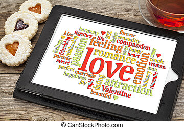 love and romance word cloud - love word cloud on a digital...