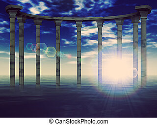 Ancient columns - Ancient pillars against blue sky in the...