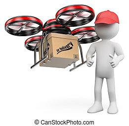 3D, blanco, gente, zángano, entregar, paquete