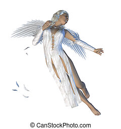 White angel - Digitally rendered image of an angel woman on...