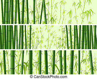 Horizontal banner with bamboos - Vector abstract horizontal...