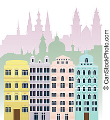 KV buildings - Vector illustration of European buildings and...