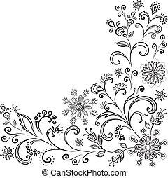 Floral contour background - Floral pattern, black symbolical...