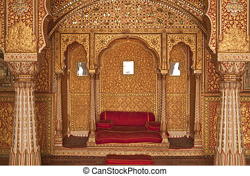 Indian Palace - Ornately decorated room inside the palace of...