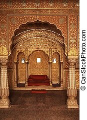 Interior of an Indian Palace - Ornately decorated room...