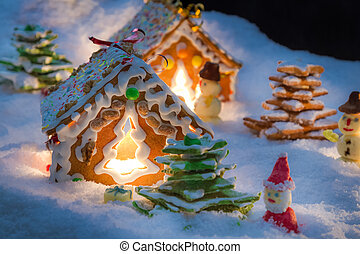 Sweet gingerbread village on Christmas Eve