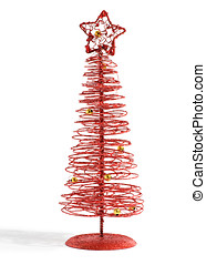 Modern festive red Christmas tree of twirled wire topped...