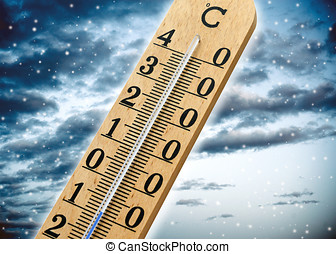 Thermometer showing cold weather and a sub zero temperature...