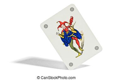 Joker playing card with a picture of a court jester or...