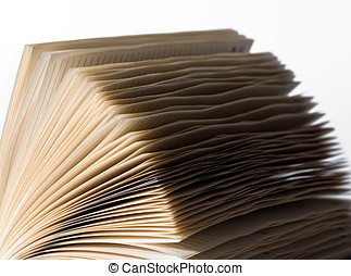 Splayed pages of an open diary - Close up of the corner of...