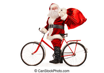 fast santa - Santa Claus rides the old bicycle with a bag of...