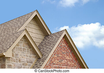 Three Roof Gables - Three roof peaks stacked on top of each...