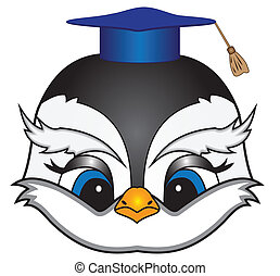 Cartoon bird in a square academic cap - Vector cartoon birds...