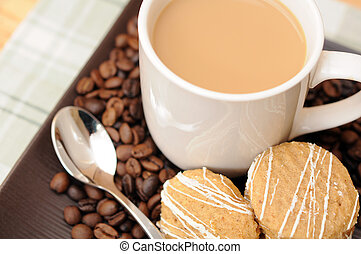 coffe and cookies - breakfast concept with coffe and cookies