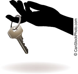 Hand Holding Key Vector - Isolated Hand holding key on white...