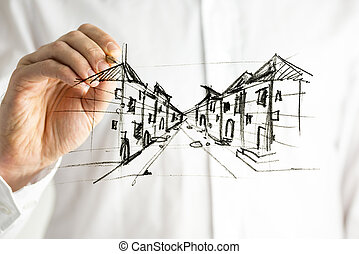 Planning a city - Male had drawing city plan on virtual...