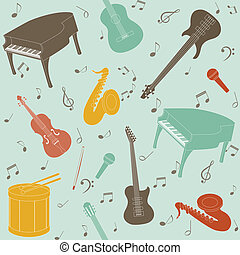 Seamless pattern with musical instruments and note symbols