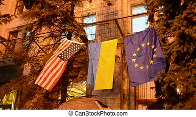 flags in kiev, ukraine during euro maidan meeting