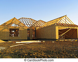 New home construction - The frame of a newly constructed...