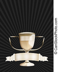 Golden Trophy - Golden trophy on top of dark background