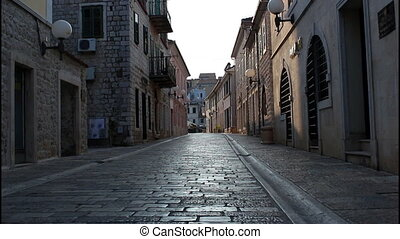 Herceg Novi, main street, early morning