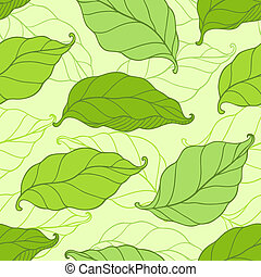 Pattern with green spring leaves