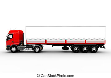Red and white truck - Red and white transport truck isolated...