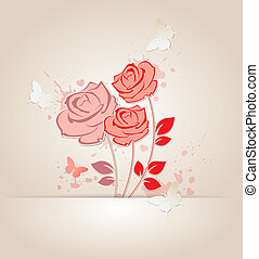 Red roses and butterflies