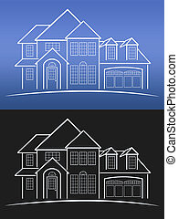 House Blue Prints - House blue prints with grid in...