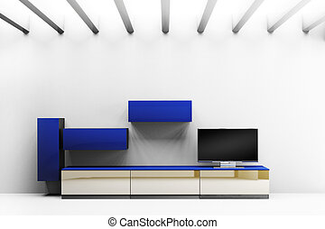 Modern interior room  with LCD TV and shelves