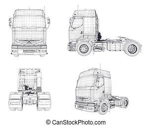 Four wireframe trucks